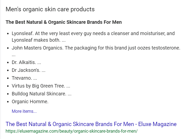 Men's Skin Care Products organic